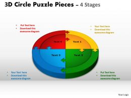 3D Circle Puzzle Diagram 4 Stages Slide Layout circular flow 1