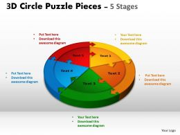 3D Circle Puzzle Diagram 5 Stages Slide Layout 1