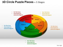 3D Circle Puzzle Diagram 5 Stages Slide Layout 1 ppt Templates 0412