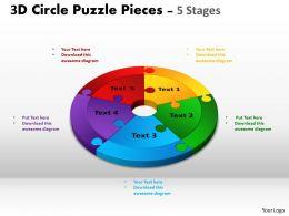 3D Circle Puzzle Diagram 5 Stages Slide Layout 4