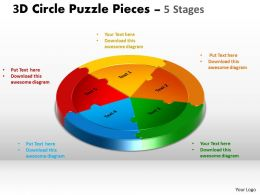 3D Circle Puzzle Diagram 5 Stages Slide Layout 5 Powerpoint Slides And ppt Templates 0412
