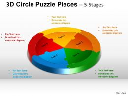 3D Circle Puzzle Diagram 5 Stages Slide Layout 5 ppt Templates 0412