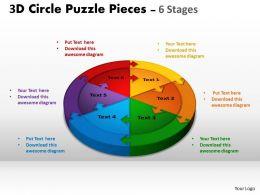 3D Circle Puzzle Diagram 6 Stages Slide Layout 1