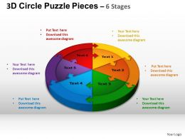 3D Circle Puzzle Diagram 6 Stages Slide Layout 1 ppt Templates 0412