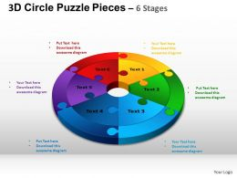 3D Circle Puzzle Diagram 6 Stages Slide Layout 4 ppt Templates 0412