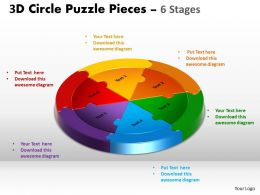 3D Circle Puzzle Diagram 6 Stages Slide Layout 5