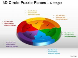 3D Circle Puzzle Diagram 6 Stages Slide Layout 5 ppt Templates 0412