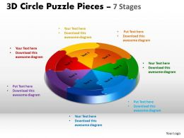 3D Circle Puzzle Diagram 7 diagram Stages Slide Layout 2