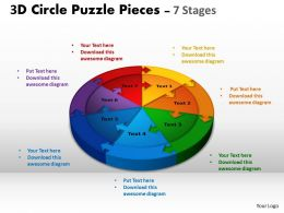 3D Circle Puzzle Diagram 7 Stages Slide Layout 1