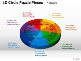3D Circle Puzzle Diagram 7 Stages Slide Layout 1 ppt Templates 0412