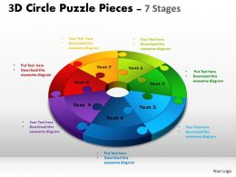 3D Circle Puzzle Diagram 7 Stages Slide Layout 4
