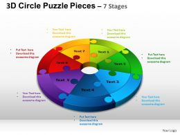 3D Circle Puzzle Diagram 7 Stages Slide Layout 4 ppt Templates 0412