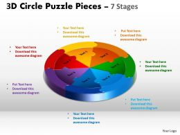 3D Circle Puzzle Diagram 7 Stages Slide Layout 5