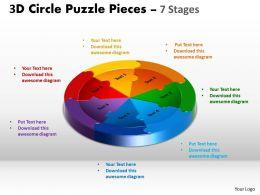 3D Circle Puzzle Diagram 7 Stages Slide Layout 5