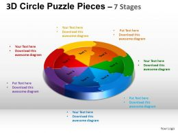 3D Circle Puzzle Diagram 7 Stages Slide Layout 5 ppt Templates 0412