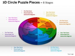 3D Circle Puzzle Diagram 8 Stages Slide Layout 1 ppt Templates 0412