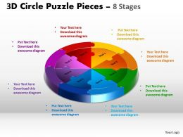 3D Circle Puzzle Diagram 8 Stages Slide Layout 5 4