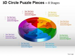 3D Circle Puzzle Diagram 8 Stages Slide Layout 5 ppt Templates 0412