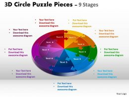 3D Circle Puzzle Diagram 9 Stages Slide Layout 1