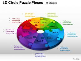 3D Circle Puzzle Diagram 9 Stages Slide Layout 4 ppt Templates 0412