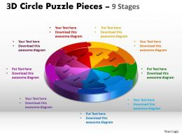 3D Circle Puzzle Diagram 9 Stages Slide templates Layout 2
