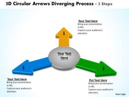 3d circular arrows diverging process steps software powerpoint slides