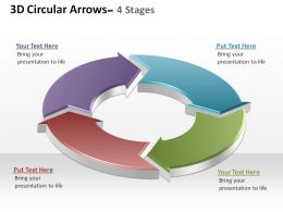 3d circular arrows process smartart 4 stages ppt slides diagrams templates powerpoint info graphics