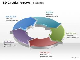 3d circular arrows process smartart 5 stages ppt slides diagrams templates powerpoint info graphics