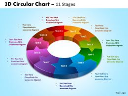 3d circular chart 11 stages powerpoint slides and ppt templates 0412