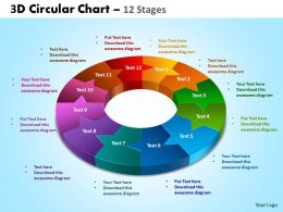 3D circular chart 12 stages powerpoint slides and ppt templates 0412