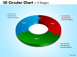 3D Circular Chart 3 Stages templates 3