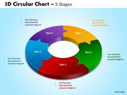3D circular chart 5 stages powerpoint slides and ppt templates 0412