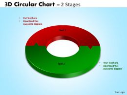3D Circular diagram Chart 2 Stages 4