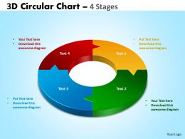 3D Circular diagram Chart 4 Stages 2