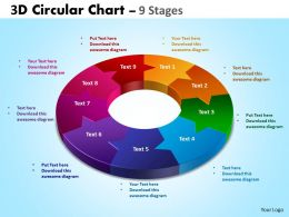 3D Circular diagram Chart 9 Stages 2