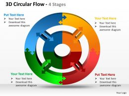3d circular flow 4 stages powerpoint templates graphics slides 0712