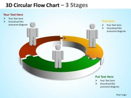 3d circular flow chart 3 stages powerpoint diagrams presentation slides graphics 0912