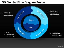 3D Circular Flow Diagram Puzzle Powerpoint templates 0812