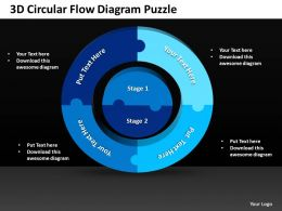 3D Circular Flow Diagram Puzzle Powerpoint templates ppt presentation slides 0812