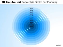 3D Circular List Concentric Circles For Planning Powerpoint Slides And Ppt Templates DB