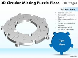 3D Circular Missing Puzzle Piece 10 Stages