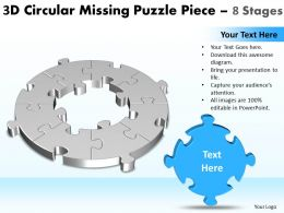 3D Circular Missing Puzzle Piece 8 Stages