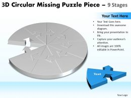 3D Circular Missing Puzzle Piece 9 Stages