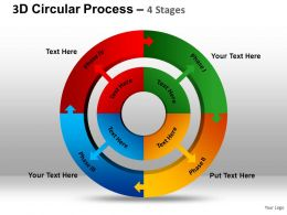 3D Circular Process 4 Stages Powerpoint Presentation Slides