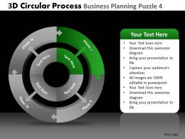 3D Circular Process Business Planning Puzzle 4 Powerpoint Slides And Ppt Templates DB