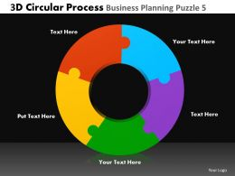 3D Circular Process Business Planning Puzzle 5 Powerpoint Slides And Ppt Templates DB