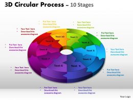3D Circular Process Cycle Diagram Chart 10 Stages Design 2 Powerpoint Slides And ppt Templates 0412 5