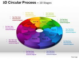 3D Circular Process Cycle Diagram Chart 10 Stages Design 2 ppt Templates 0412