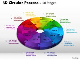 3D Circular Process Cycle Diagram Chart 10 Stages Design 3 Powerpoint Slides And ppt Templates 0412 6