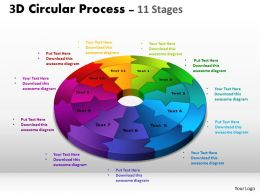 3D Circular Process Cycle Diagram Chart 11 Stages Design 2 Powerpoint Slides And ppt Templates 0412